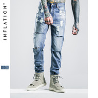 INFALTION Mens Ripped Jeans Washing 2016 Hip Hop Autumn For Men Straight Men Skinny Jeans