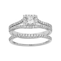 IGL Certified Diamond Square Halo Engagement Ring Set in 14k Gold (1 Carat T.W.) (White)