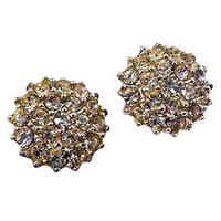Cluster Earrings Vintage Rhinestone Round Silver Tone Screw Back e470