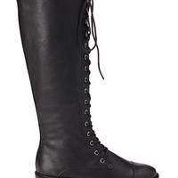 FOREVER 21 Tall Lace-Up Boots Black 10