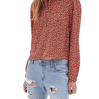 Orange Floral Ruffle Tie Front Long Sleeve Blouse