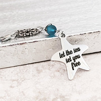 Starfish Charm - Beach - Zipper Accessory - Let the Sea Set You Free - Ocean Theme - Handbag Jewelry - Purse Jewelry - Sea Glass