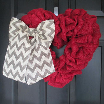 Red Burlap Heart Wreath with Grey Chevron Bow
