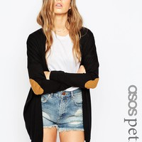 ASOS PETITE Swing Cardigan With Oval Tan Suedette Elbow Patch at asos.com