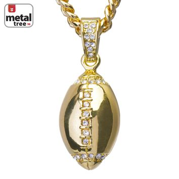 """Jewelry Kay style Men's Hip Hop 14K Gold Football Pendant 24"""" Cuban Link Chain Necklace CPB 1120 G"""