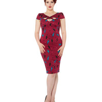 Cats On A Wire Pencil Dress