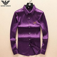 Giorgio Armani Fashion New Embroidery Letter Women Men Long Sleeve Top Shirt Purple