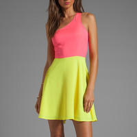 Naven Neon Collection Asymmetric Swing Dress in Neon Pink/Neon Yellow from REVOLVEclothing.com