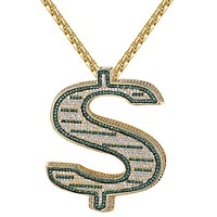 Custom Side Bling Green 3D Dollar Sign Pendant Necklace
