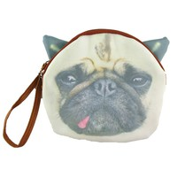 Goofy Pug Face with Tongue Sticking Out Shaped Clutch Bag | Gifts for Dog Lovers