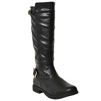 Womens Riding Mid Calf Boots w/ Buckle Accent Black
