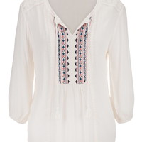 peasant top with lace and embroidery