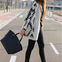 TrendyQueen-Black Ivory Aztec Tribal Southwestern Knit Cardigan Boho Sweater Long Sleeve NWT