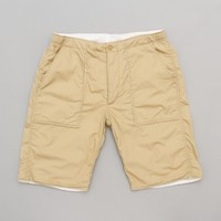 Engineered Garments South Beach Short (Khaki Cotton Pima Poplin) | Oi Polloi