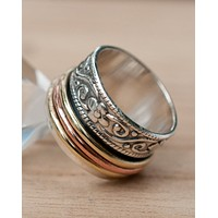 Amy Meditation Ring * Bronze, Copper and Sterling Silver 925 * BJS036