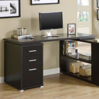 Contemporary Computer Desk Home Office Furniture Drawers L Shaped Cappuccino New