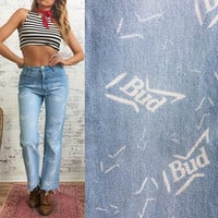 JULY FLASH SALE Vintage Rare Budweiser High Waisted Bud Jeans || Size 27 to 28