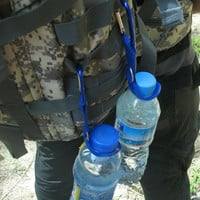 Carabiner Water Bottle Holder Camping Hiking Aluminum Rubber Buckle Hook high quality