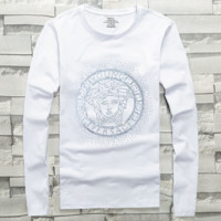 Versace autumn and winter trend cotton men's hot drilling long-sleeved T-shirt white