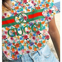 Gucci Tee Shirt Top Flower Floral Type Print Women Men Couples Sweater Colorful beige
