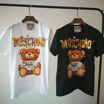 """Moschino"" Fashion Casual Letter Little Bear  Pattern Print Round Neck Short Sleeve Tops"