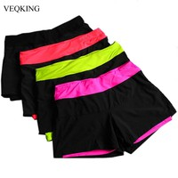 VEQKING Women Running Shorts,Lined Anti-Emptied Stretch Trainning Fitness Yoga Sports Short Pants Slim Gym Sweat Shorts