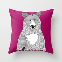 Big Bear Throw Pillow - Double Sided Fuscia Throw Pillow - Faux Down Insert - Illustrated Pillow Cover