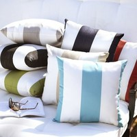 Sunbrella® Awning Stripe Indoor/Outdoor Pillow