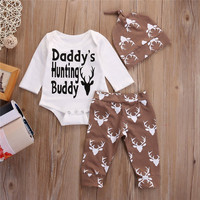 Christmas 3PCS Newborn Infant Baby Boys Outfits Sets Deer Long Sleeve Tops Romper +Long Pants+Hat Clothes