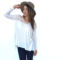 Dream In Cream Crochet Jersey Blouse