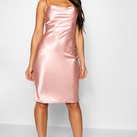 Satin Cowl Neck Midi Slip Dress | Boohoo