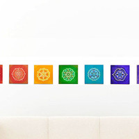 Chakra Prints ~ All 7 Chakras Included ~ Giclee or Archival ~ Yoga decor ~ Sacred Geometry ~ Flower of Life