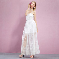 Casual White Floral Emboidered Spaghetti Strap Wedding Dress