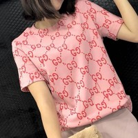 GUCCI Fashion Women Leisure G Letter Print Short Sleeve T-Shirt Top Pink