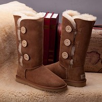 Ugg 1873 Chestnut Classic Bailey Button Triplet Boot Snow Boots