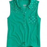 Tie-front Knit Dot Shirt   Girls {category} {parent_category}   Shop Justice