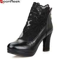 MoonMeek New fashion sexy zipper cut outs platform shoes women pumps ladies thick high heels everning party wedding shoes