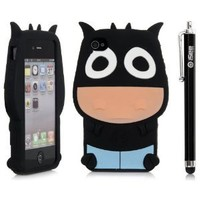 iSee Case (TM) 3D Cartoon Cow Silicone Full Cover Case for Apple iPhone 4 4S+free iSeeCase Stylus (4-Cow Black Stylus)