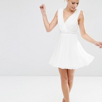ASOS Pleated Mini Skater Dress With Embellished Waist at asos.com