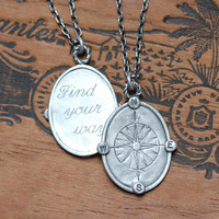Compass necklace - graduation gift - recycled sterling silver - compass rose - oxidized - nautical - Find your way