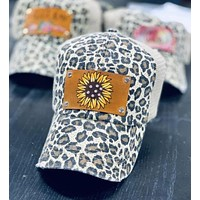 Leopard and Sunflower Print Hat