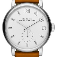 Women's MARC BY MARC JACOBS 'Baker' Leather Strap Watch, 37mm - Mocha Bisque/ Silver