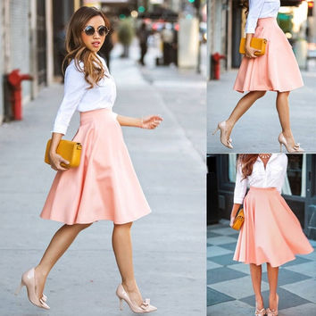 Fashion Women A-Line Pleated Polyester Midi Skirts Office Ladies Ball Dresses = 1946763012