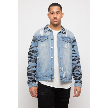 Tiger Striped Sleeve Denim Jacket