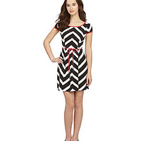 B. Darlin Cap-Sleeve Chevron-Print Dress | Dillards.com