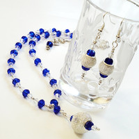 Blue Crystal Dangle Beaded Necklace Set, Sapphire Silver Mesh Necklace Set/  Gift For her,  Bridal Jewelry