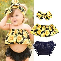 US Stock Newborn Baby Girl Outfit Off Shoulder Tops Shorts Headband Romper NEW