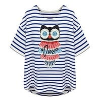 ZLYC Women's Owl Striped Loose Short Sleeve T-shirt
