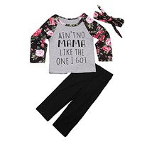 Toddler Kids Baby Girls Clothes Sets Outfit Floral Tops T-shirt Long Sleeve Flower Pants Hairband Clothing Girl 1-6Y