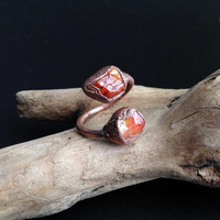 Double Carnelian Ring  - Gemstone Ring - Unique Ring - Raw Stone Ring - Semiprecious Stone Ring - SIZE 7
